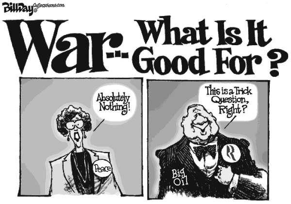 Bill Day - Cagle Cartoons - War and Oil - English - Romney, Big Oil, money, war