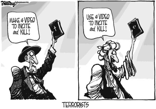 Bill Day - Cagle Cartoons - Holy Book Bigots - English - Bible, Koran, mideast, terrorists, video