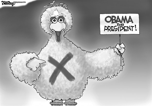 Bill Day - Cagle Cartoons - Big Bird Gets Political - English - Big Bird, Romney, Obama, Debate, election