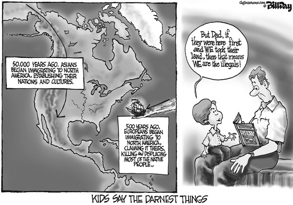 Bill Day - Cagle Cartoons - Kids Say the Darnest Things - English - immigration, illegals, Mexico, undocumented workers