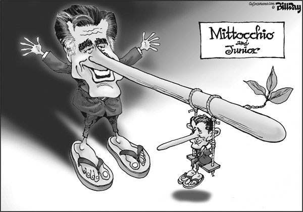 Bill Day - Cagle Cartoons - Mittocchio and Junior - English - vp debate, Paul Ryan, Romney, election