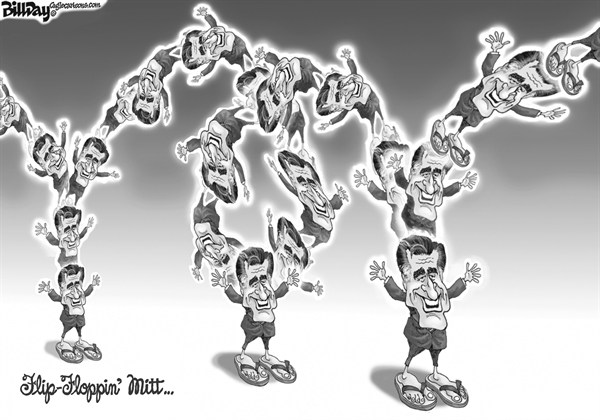 Bill Day - Cagle Cartoons - Flip-Floppin' Mitt - English - Romney, flip-flops, issues, election