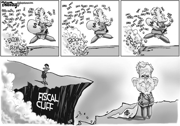 Bill Day - Cagle Cartoons - The Legacy - English - Bush, fiscal cliff, deficit, taxes, Obama