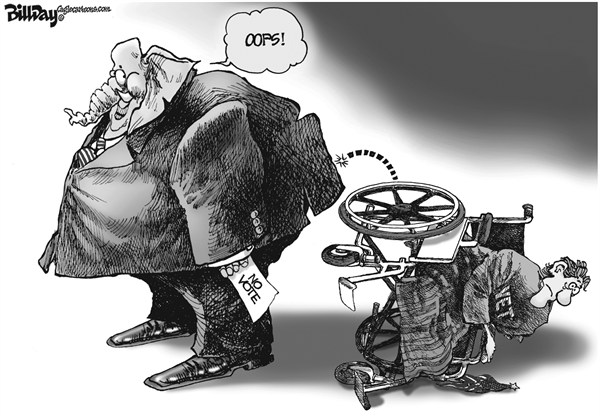 Bill Day - Cagle Cartoons - Disabled and Discarded - English - disabled, vote, Congress, vets, GOP