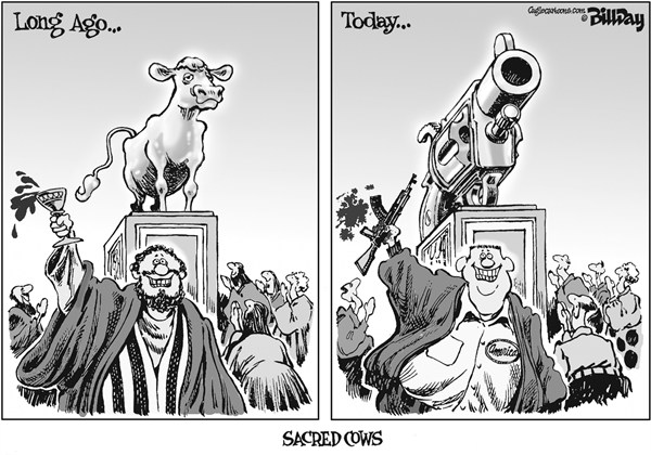 Bill Day - Cagle Cartoons - Sacred Cows - English - false idols, sacred cows, guns