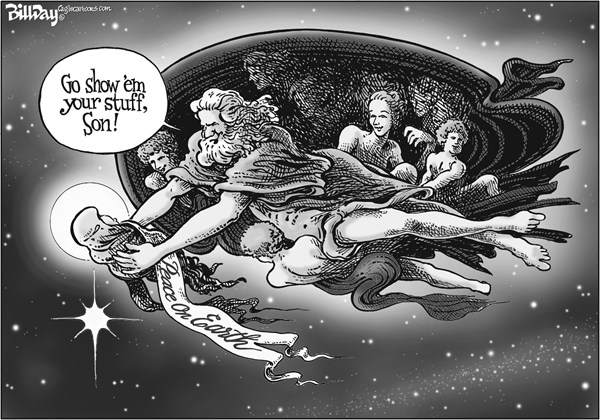 Bill Day - Cagle Cartoons - Christmas Cartoon for 12/25 - English - Jesus, Christmas, Peace on Earth