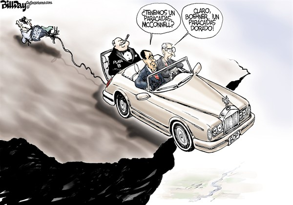Bill Day - Cagle Cartoons - Paracaidas Dorado - English - Abismo,fiscal,Bohener,McConell,clase,media