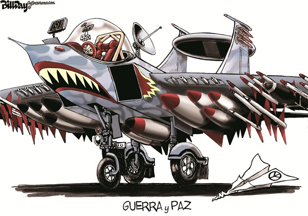 Bill Day - Cagle Cartoons - GUERRA y PAZ / COLOR - Spanish - Presupuesto,militar,cortes,recortes,defensa,jet