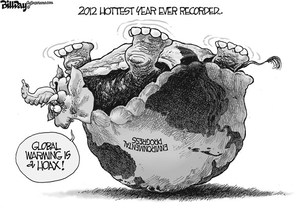 Bill Day - Cagle Cartoons - Turtlephant - English - global warming, turtle, elephant, GOP, hoax