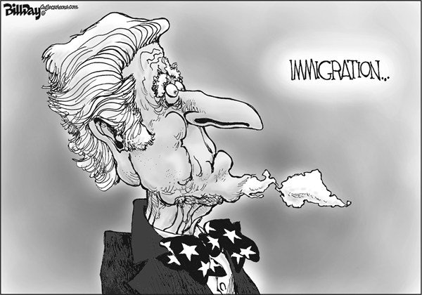Bill Day - Cagle Cartoons - South of the Border - English - immigration, reform, Uncle Sam, Central and South America
