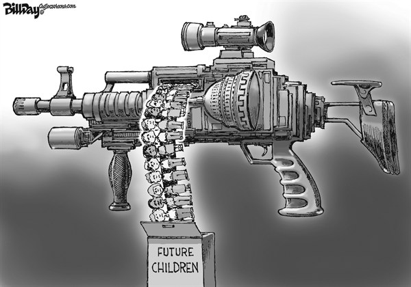Bill Day - Cagle Cartoons - Future Children - English - assault weapons, second amendment, children, Congress