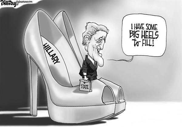 Bill Day - Cagle Cartoons - Big Heels - English - Hillary, Kerry, shoes, Sec of State