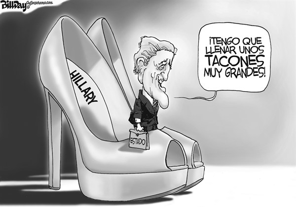 Bill Day - Cagle Cartoons -  - English - Secretaria,de,Estado,John,Kerry,Diplomacia,Hillary,Clinton,zapatos,tacones