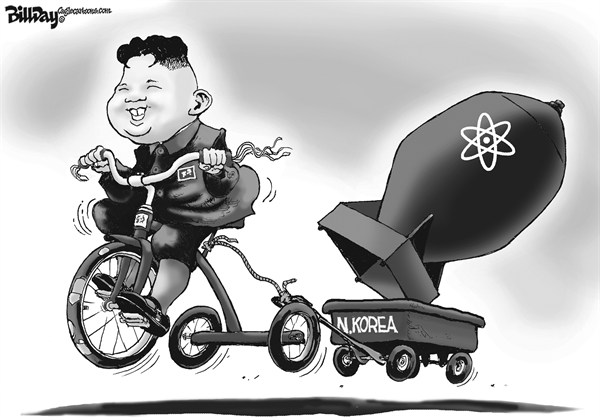 Bill Day - Cagle Cartoons - Nuke Kook   - English - N Korea, Nuke, kook, atom bomb, trike