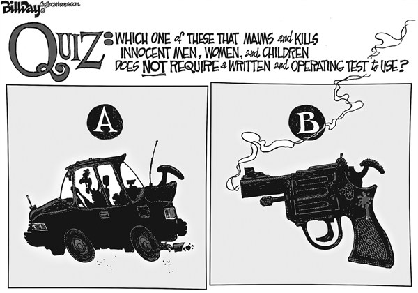 Bill Day - Cagle Cartoons - Weapons of Mass Destruction  - English - guns, cars, gun registration, Congress,