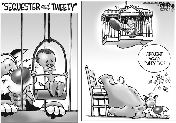 Bill Day - Cagle Cartoons - Sequester and Tweety - English - sequester, Obama, Congress, GOP, Sylvester, Tweety