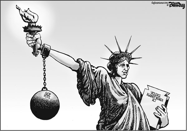 Bill Day - Cagle Cartoons - Violence Against Women   - English - Violence Against Women Act, GOP vote, Lady Liberty, torch