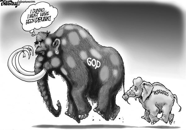 Bill Day - Cagle Cartoons - The Little Reminder   - English - GOP, extremism, the party of stupid, moderates, wooly mammoth