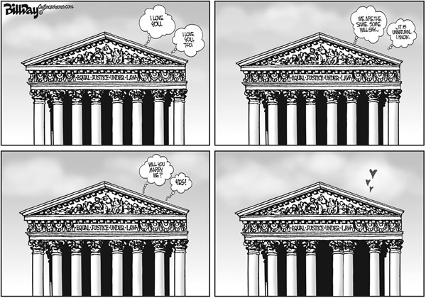Bill Day - Cagle Cartoons - EQUAL JUSTICE   - English - Supreme Court, gay marriage, equality, love