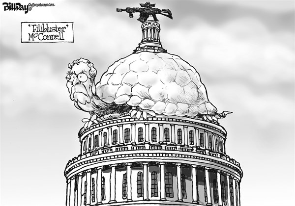 Bill Day - Cagle Cartoons - FiliBLUSTER McConnell   - English - assault weapons ban, gun control, NRA, Congress, Mitch McConnell