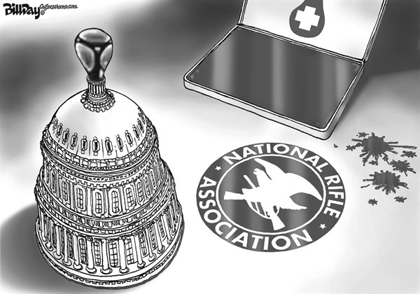 Bill Day - Cagle Cartoons - Rubber Stamp    - English - Rubber Stamp, gun control, NRA, Congress, assault weapons