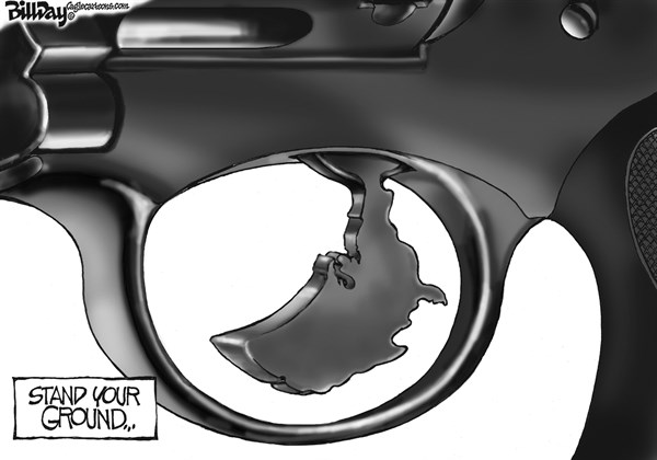 Bill Day - Cagle Cartoons - TRIGGER HAPPY    - English - stand your ground, trigger, guns, Florida law, Zimmerman