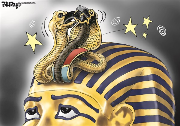 Bill Day - Cagle Cartoons - E-GYPPED  color - English - Morsi, Arab Spring, Egypt, Tut, democracy, army
