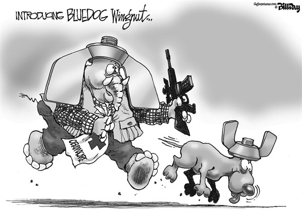 Bill Day - Cagle Cartoons - BLUEDOG WINGNUT - English - Obama Care, Congress, Wingnut, Bluedog Wingnut, hunting dog