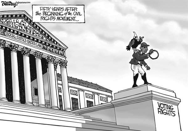 Bill Day - Cagle Cartoons - LAWN JOCKEY   - English - voting rights, Supreme Court, civil rights, lawn jockey, 50 years