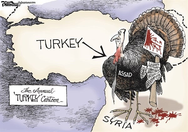 Bill Day - Cagle Cartoons - TURKEY ASSAD   color - English - Assad, turkey, map, ax, genocide