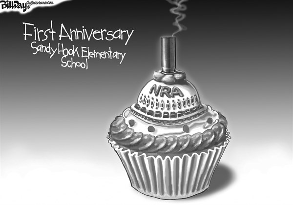 Bill Day - Cagle Cartoons - NRA CANDLE    - English - NRA, candle bullet, Newtown, Sandy Hook, cupcake, first anniversary