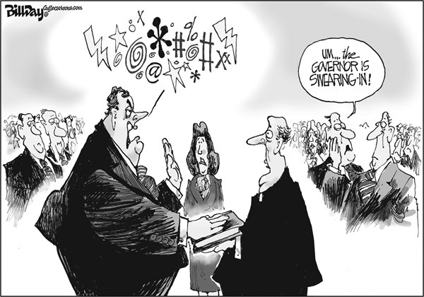 Bill Day - Cagle Cartoons - SWEARING-IN   - English - Christie, ceremony, swearing-in, bridge, scandal