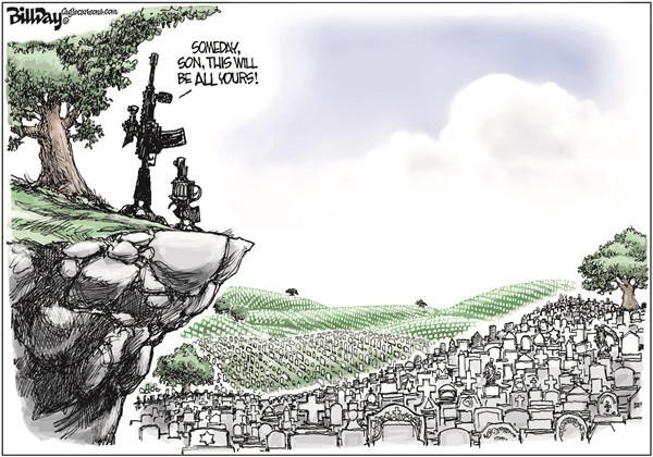 SON OF A GUN © Bill Day,Cagle Cartoons,guns, NRA, cemeteries, gun reform, standing your ground