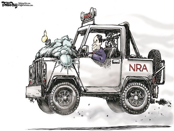 Bill Day - Cagle Cartoons - BIG GAME HUNTER  color - English - NRA, Lapiere, Liberty, Obama, Surgeon general