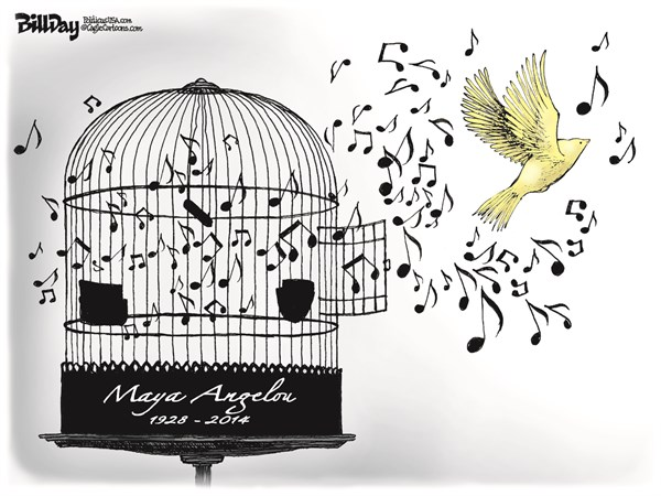 Bill Day - Cagle Cartoons - CAGED BIRD SINGS   color - English - Maya Angelou, poet, author, civil rights