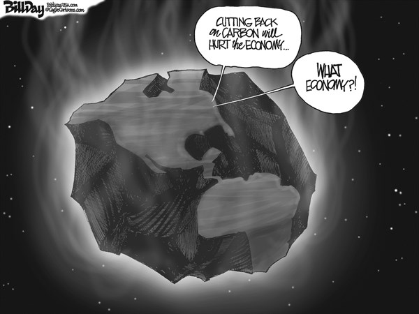 Bill Day - Cagle Cartoons - THE EMBER   - English - carbon, ember, global warming, economy