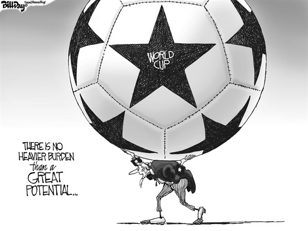 Bill Day - Cagle Cartoons - WORLD CUP   - English - World Cup, USA, soccer, Uncle Sam, Atlas