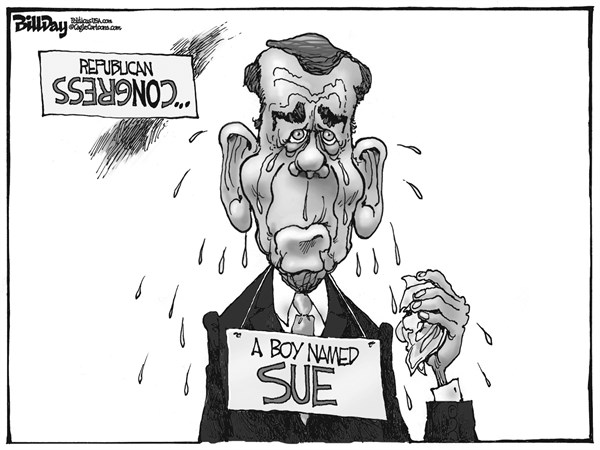 Bill Day - Cagle Cartoons -  BOY NAMED SUE - English - Boehner, Congress, crying baby, sue, Obamacare