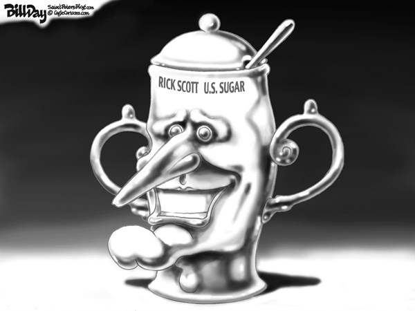 Bill Day - Cagle Cartoons - Local FL  OWNED   - English - Rick Scott, US Sugar, Florida, GOP, sugar bowl