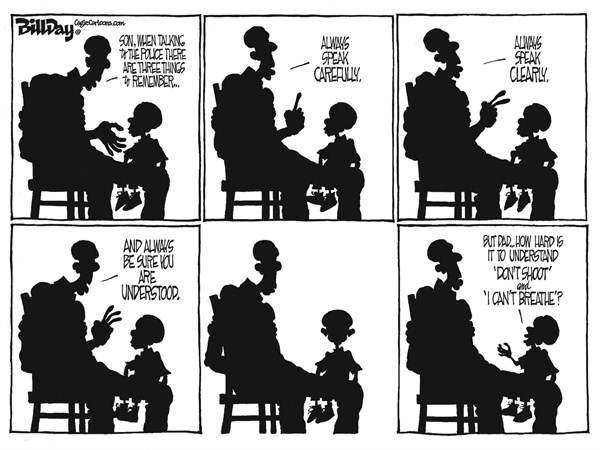 A LESSON © Bill Day,Cagle Cartoons,Ferguson, NYC, police, dad, son