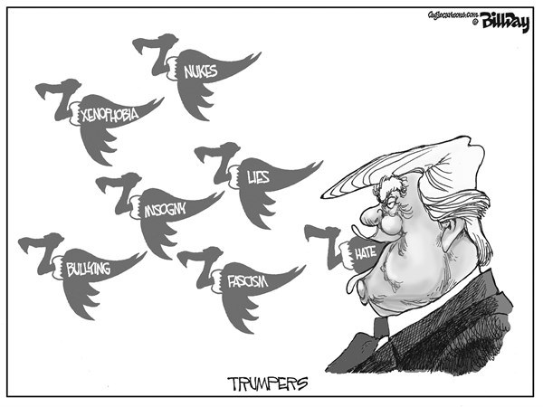 Bill Day - Cagle Cartoons - TRUMPERS Twitters - English - Trump, twitter, buzzards, social media