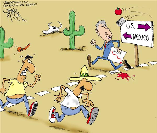 Gary McCoy - Cagle Cartoons - Border-Crossing Bush COLOR - English - Comprehensive Immigration Reform Bill, Immigration Reform, Border Security, Immigration, Illegal Immigrants, President Bush, Bush Immigration Reform, Senate Defeats Immigration Bill