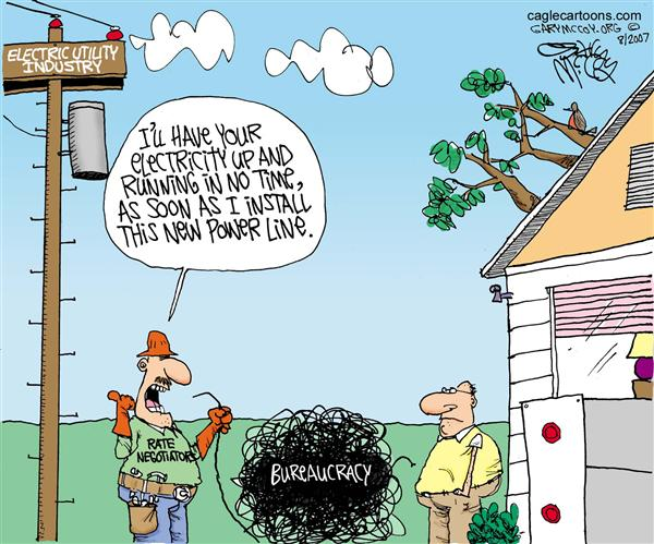 Gary McCoy - Cagle Cartoons - Govts Electric Fix COLOR - English - Electric Utility Industry,Electric Rates,Government Agencies,High Electric Rates,Electric Rate Negotiators,Home Electricity Costs,Government Bureaucracy