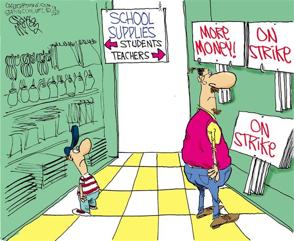 Gary McCoy - Cagle Cartoons - Teachers on Strike COLOR - English - NEA,National Federation of Teachers,Teachers,Teachers Strike,Teachers Union,Public Education