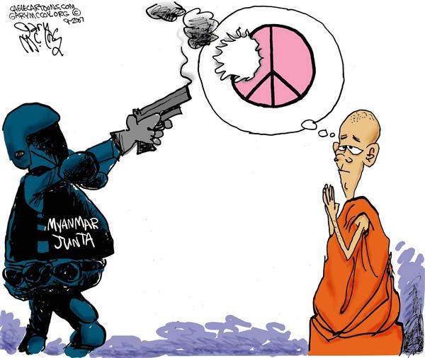 42358 600 Myanmar Peace Police cartoons