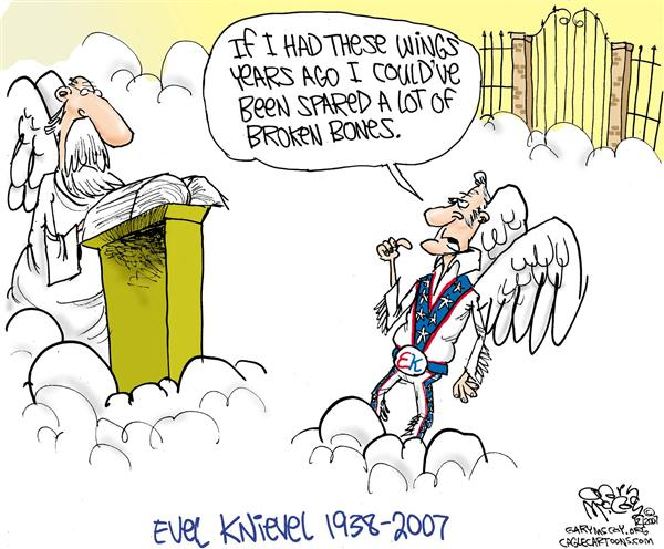 "Gary McCoy - Cagle Cartoons - Evel Knievels Wings COLOR - English - Evel Knievel,Robert Craig Knievel,Robert Craig ""Evel"" Knievel,Worlds Greatest Daredevil,Motorcycle Daredevil,Motorcycle Jumper,Motorcycle Stunt Jumper"