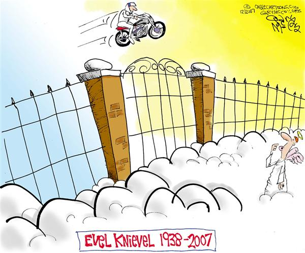 "Gary McCoy - Cagle Cartoons - Heavens Gate Jumper COLOR - English - Evel Knievel,Robert Craig Knievel,Robert Craig ""Evel"" Knievel,Worlds Greatest Daredevil,Motorcycle Daredevil,Motorcycle Jumper,Motorcycle Stunt Jumper"