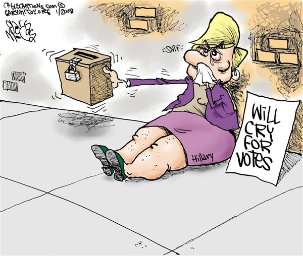 Gary McCoy - Cagle Cartoons - Hillary Cries COLOR - English - Hillary Clinton,Senator Clinton,Sen Hillary Clinton,Clinton Campaign,Clinton Woes,Primaries