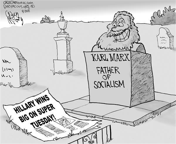 Gary McCoy - Cagle Cartoons - Hillary and Marx - English - Hillary Clinton,Super Tuesday,Senator Clinton,Senator Hillary Clinton,Karl Marx,Communism,Socialism,Russia,Primaries,Nanny State,Universal Health Care,Government Health Care,Sen Hillary Clinton