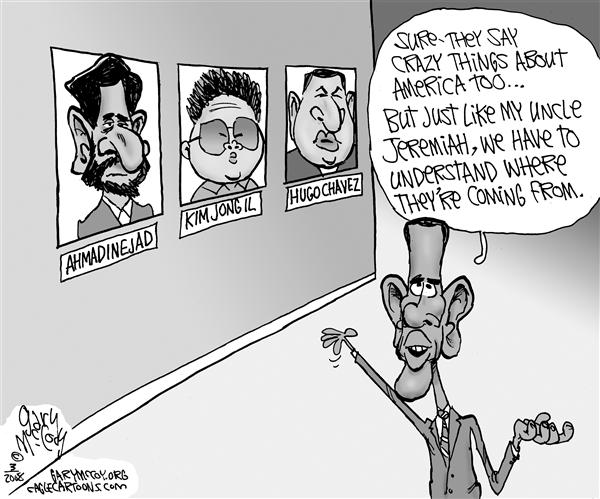 Gary McCoy - Cagle Cartoons - Explaining Rev. Wright BW - English - Barack Obama,Senator Obama,Senator Barack Obama,Barack,Obama,Rev Jeremiah A Wright, Jr,Obamas Pastor,Rev Wright,Trinity United Church of Christ,Rev Jeremiah Wright,Reverend Wright,Obama's Speech,Dictators,America's Enemies,Chavez,Ahmadinejad,Kim Jong il